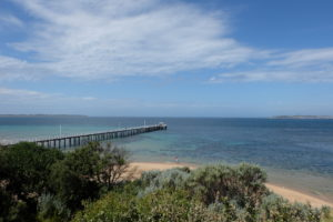 View of beach jetty and sky